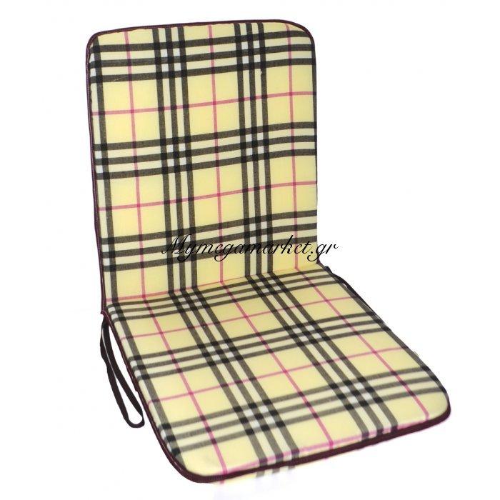 Μαξιλάρι καρέκλας με πλάτη καρώ μπέζ 90 x 45 cm | Mymegamarket.gr
