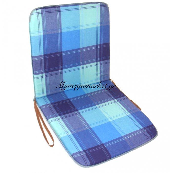 Μαξιλάρι καρέκλας με πλάτη σχέδιο καρώ μπλέ 90 x 45 cm   Mymegamarket.gr