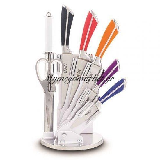 Ατσάλινα μαχαίρια ανοξείδωτα λαβή χρωματιστή σε ακρυλική βάση σετ 8 τεμαχίων - Nava Στην κατηγορία Μαχαιροπίρουνα | Mymegamarket.gr