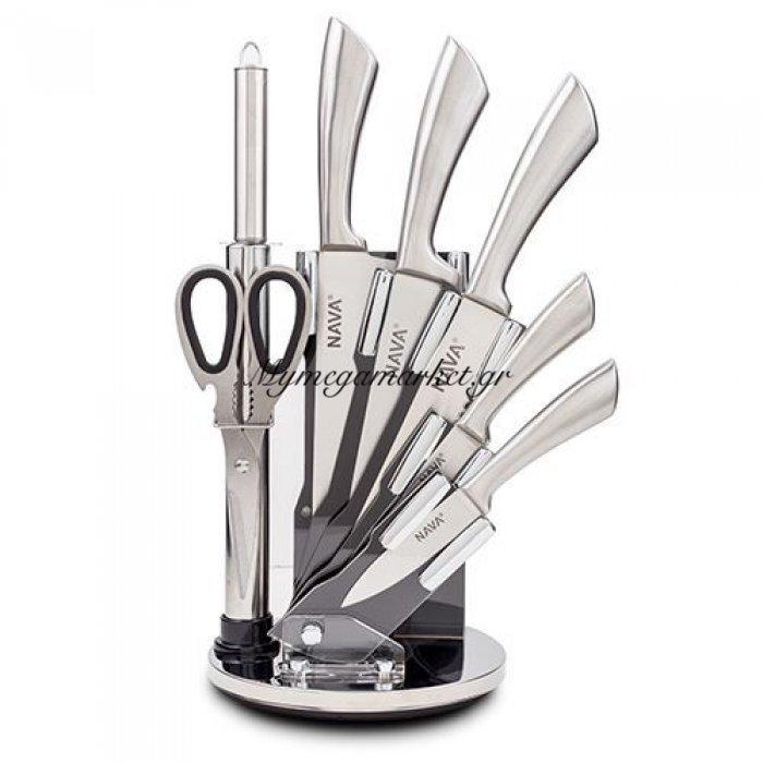 Ατσάλινα μαχαίρια ανοξείδωτα λαβή σε ακρυλική βάση σετ 8 τεμαχίων - Nava | Mymegamarket.gr