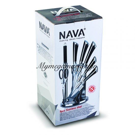 Ατσάλινα μαχαίρια ανοξείδωτα λαβή σε ακρυλική βάση σετ 8 τεμαχίων - Nava Στην κατηγορία Μαχαιροπίρουνα | Mymegamarket.gr