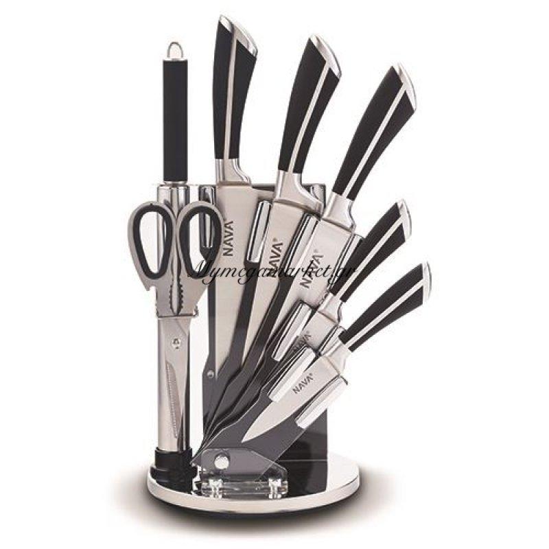 Ατσάλινα μαχαίρια ανοξείδωτα με μαύρη λαβή σε ακρυλική βάση σετ 8 τεμαχίων - Nava