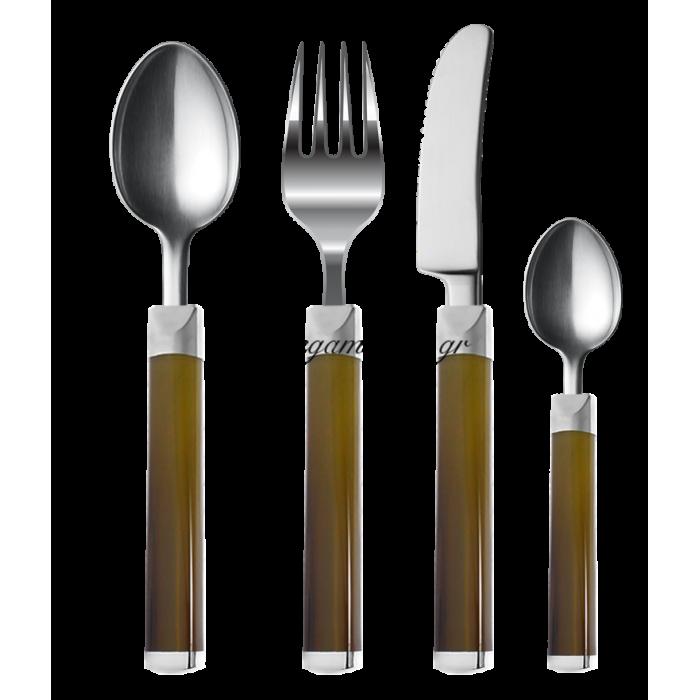 Μαχαιροπίρουνα ανοξείδωτα με ακρυλική λαβή σετ 24 τεμαχίων Happy ware σε μελί απόχρωση | Mymegamarket.gr