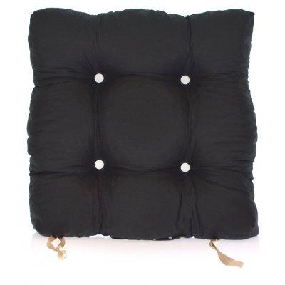Μαξιλάρι κάθισμα μπαμπού - Κρετόν μαύρο ύφασμα