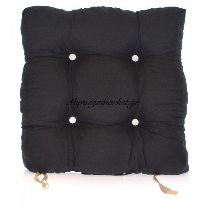 Μαξιλάρι κάθισμα μπαμπού - Κρετόν μαύρο ύφασμα | Mymegamarket.gr
