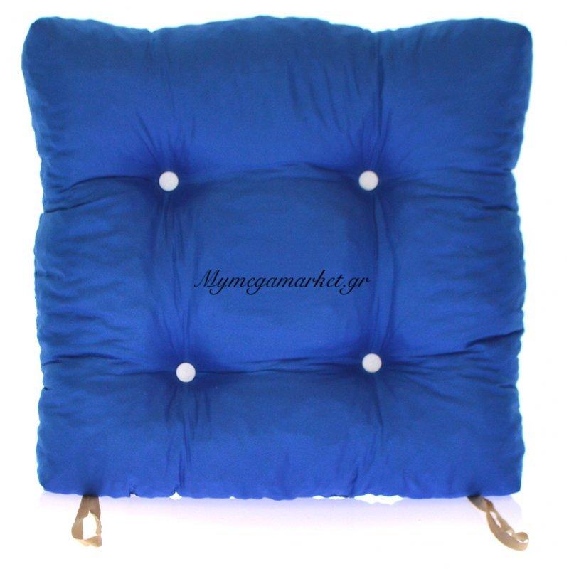 Μαξιλάρι κάθισμα μπαμπού - Κρετόν μπλέ ύφασμα