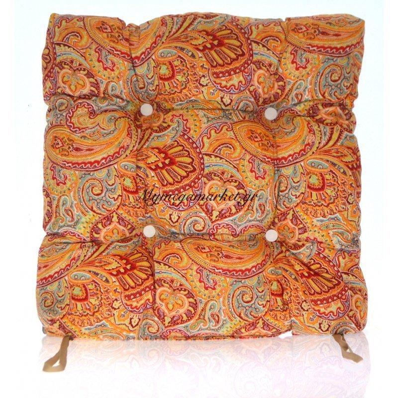 Μαξιλάρι κάθισμα μπαμπού - Λονέτα ύφασμα Design Ethnic by Mymegamarket.gr