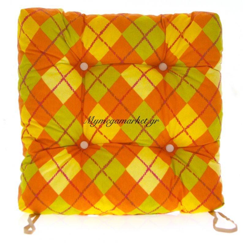 Μαξιλάρι κάθισμα μπαμπού - Λονέτα ύφασμα καρώ πορτοκαλί