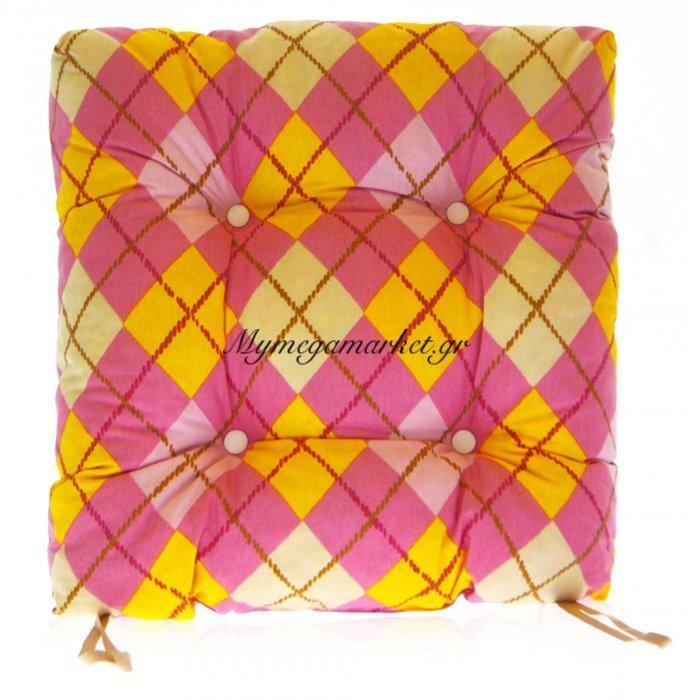 Μαξιλάρι κάθισμα μπαμπού - Λονέτα ύφασμα καρώ ρόζ | Mymegamarket.gr