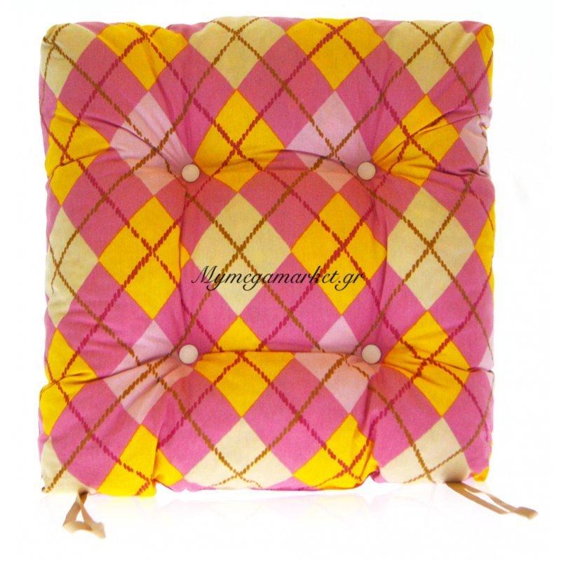 Μαξιλάρι κάθισμα μπαμπού - Λονέτα ύφασμα καρώ ρόζ