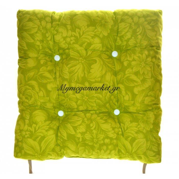 Μαξιλάρι κάθισμα μπαμπού - Λονέτα ύφασμα πράσινο με λουλούδια | Mymegamarket.gr