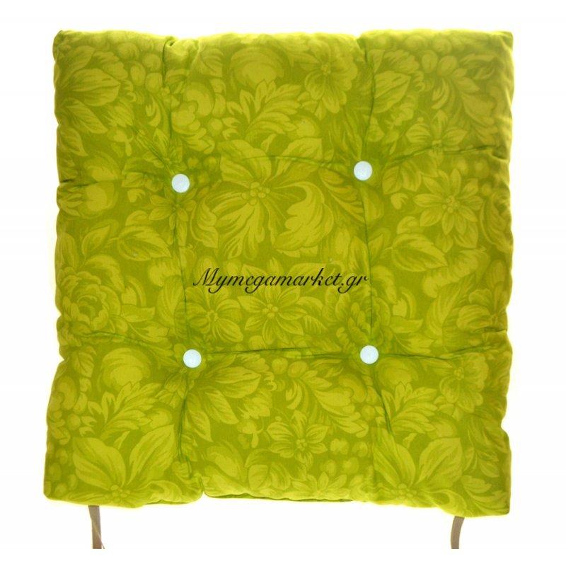 Μαξιλάρι κάθισμα μπαμπού - Λονέτα ύφασμα πράσινο με λουλούδια