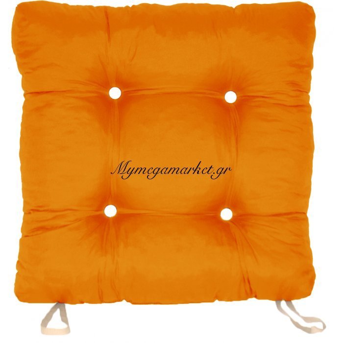 Μαξιλάρι κάθισμα μπαμπού, πορτοκαλί χρώμα 50 x 50 x 9,5 cm | Mymegamarket.gr