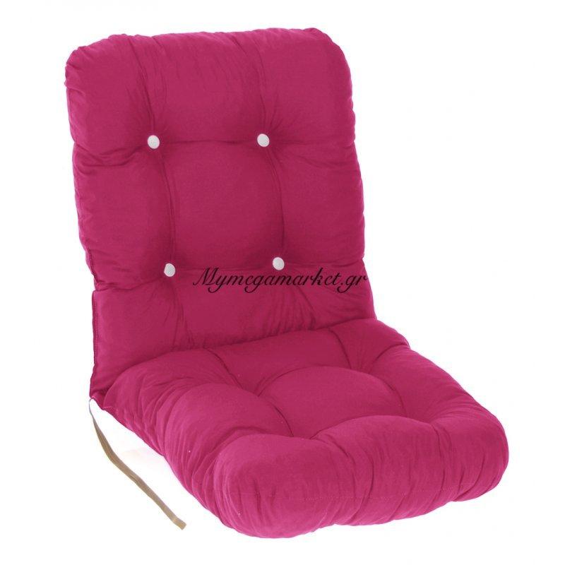 Μαξιλάρι κάθισμα με πλάτη μπαμπού - Κρετόν φούξια ύφασμα by Mymegamarket.gr