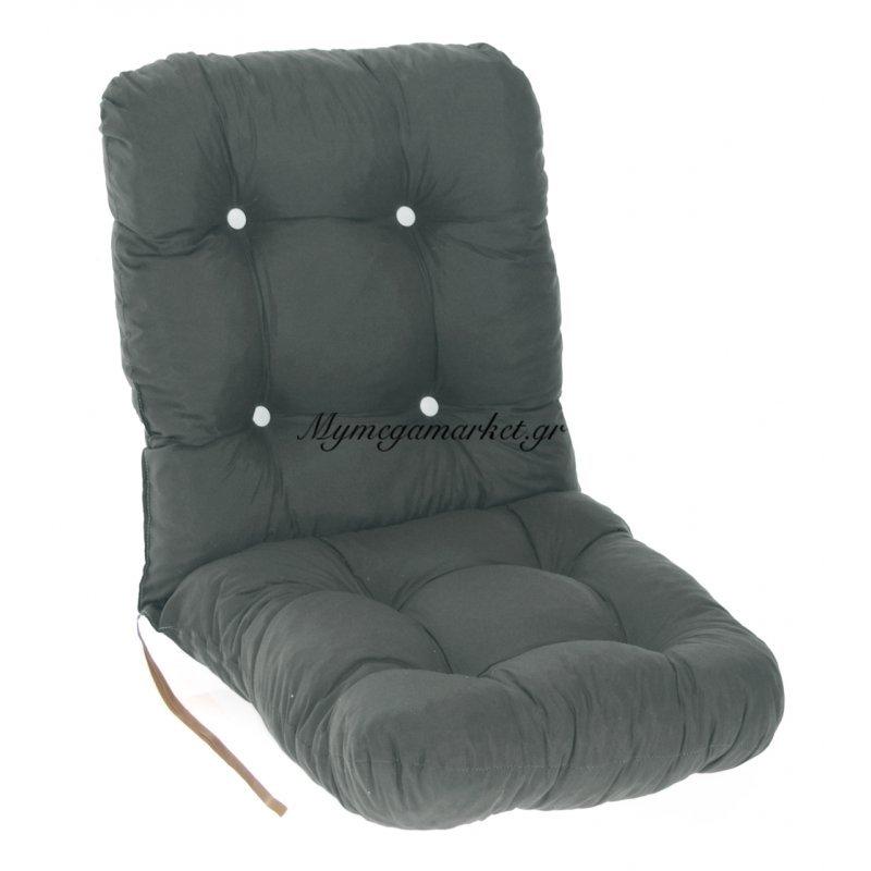 Μαξιλάρι κάθισμα με πλάτη μπαμπού - Κρετόν γκρί ύφασμα