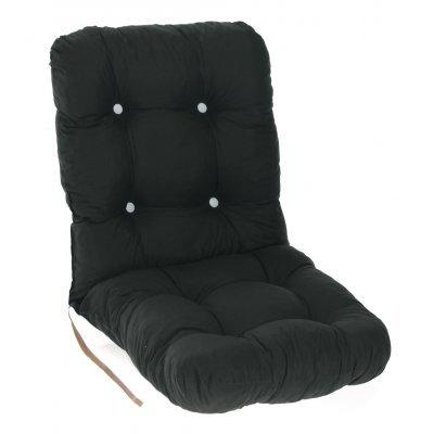 Μαξιλάρι κάθισμα με πλάτη μπαμπού - Κρετόν μαύρο ύφασμα