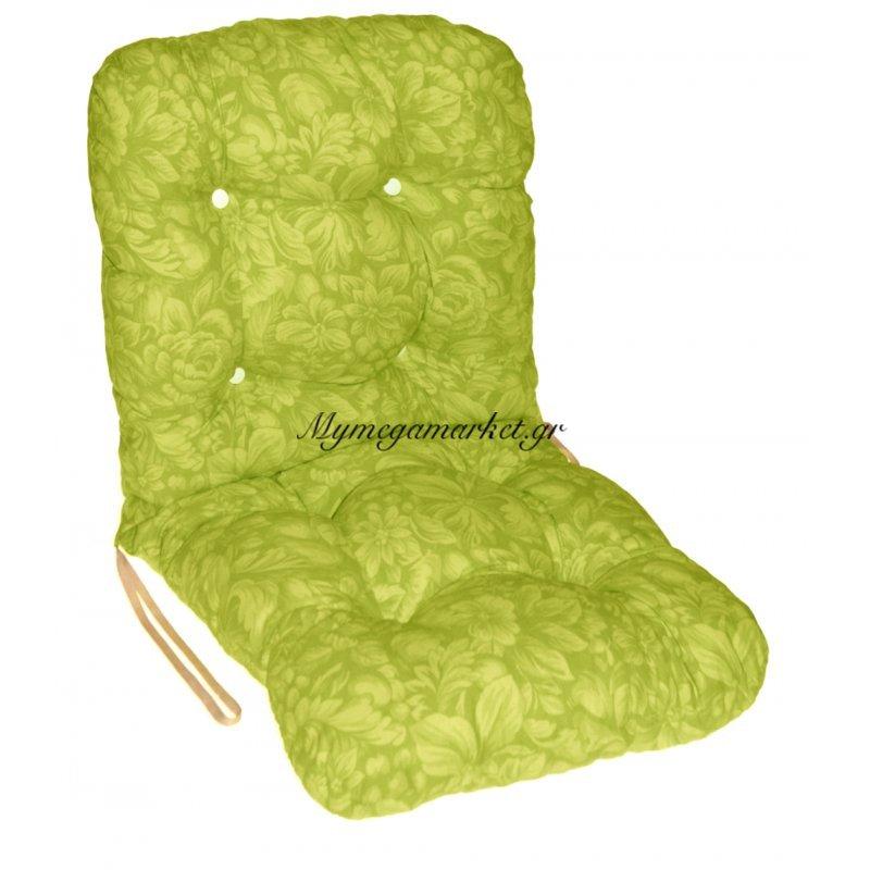 Μαξιλάρι κάθισμα με πλάτη μπαμπού - Λονέτα ύφασμα πράσινο με λουλούδια