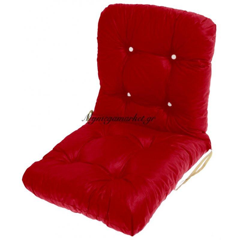 Μαξιλάρι κάθισμα με πλάτη μπαμπού σε κόκκινο τζίν ύφασμα