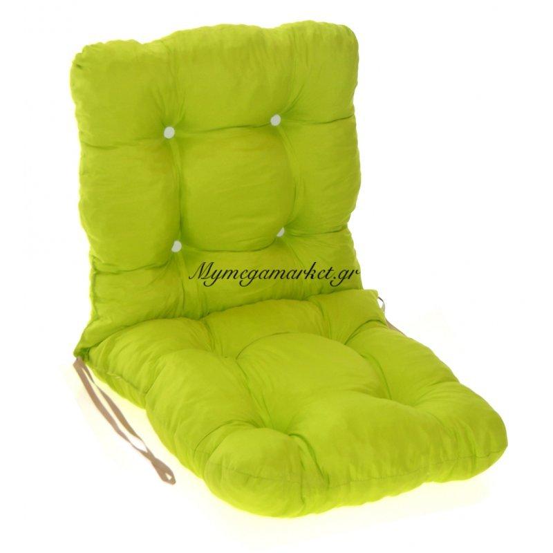 Μαξιλάρι κάθισμα με πλάτη μπαμπού σε λαχανί χρώμα