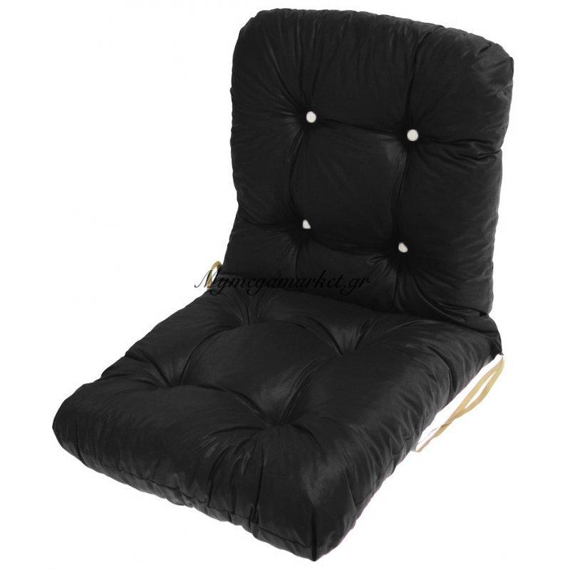 Μαξιλάρι κάθισμα με πλάτη μπαμπού σε μαύρο χρώμα