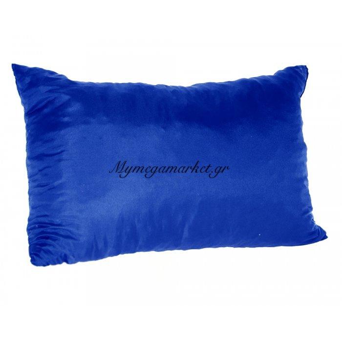 Μαξιλάρι καναπέ - Παγκάκι μπλέ μονόχρωμο μακρόστενο 55 x 35 cm | Mymegamarket.gr