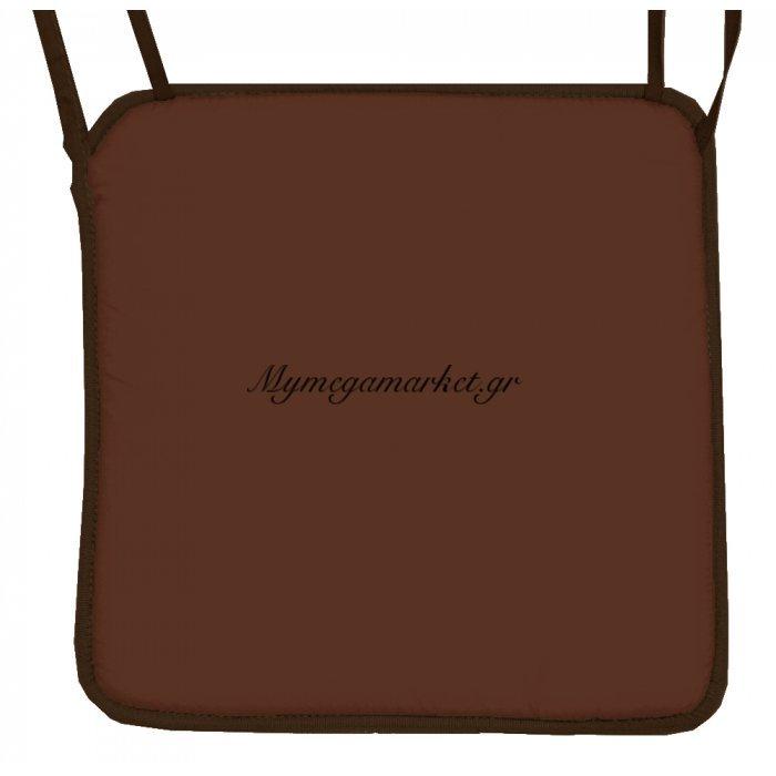 Μαξιλάρι καρέκλας με ρέλι καφέ - Καφέ ύφασμα | Mymegamarket.gr