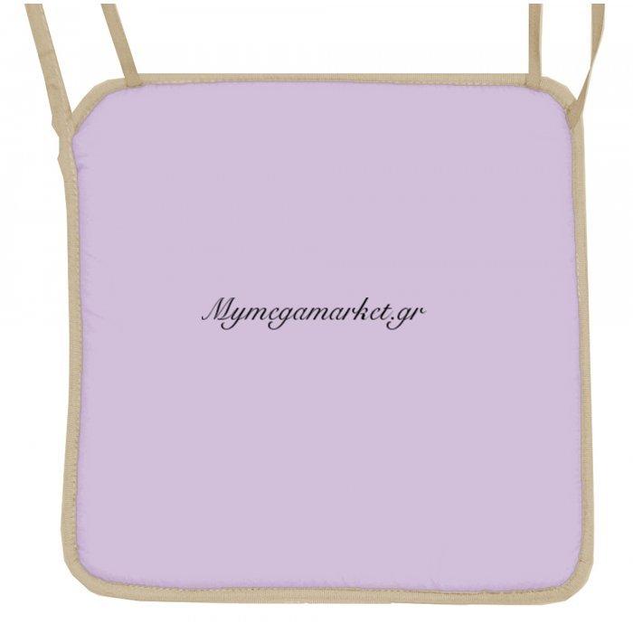 Μαξιλάρι καρέκλας με ρέλι, λιλά χρώμα 38 x 38 x 3 cm | Mymegamarket.gr