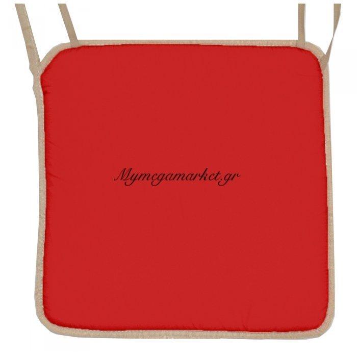 Μαξιλάρι καρέκλας με ρέλι μπέζ –Κόκκινο | Mymegamarket.gr