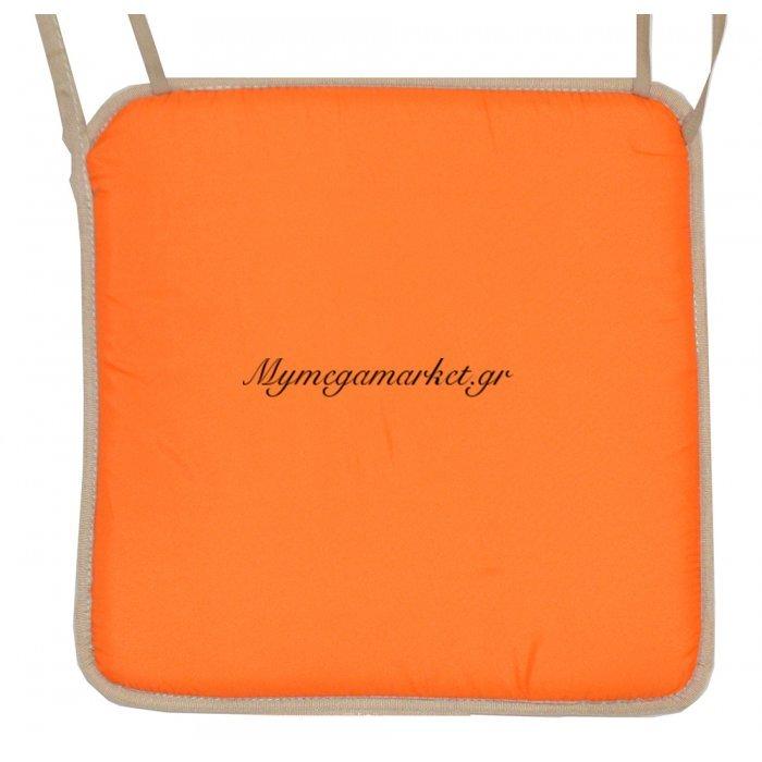Μαξιλάρι καρέκλας με ρέλι μπέζ –Πορτοκαλί ανοιχτό | Mymegamarket.gr