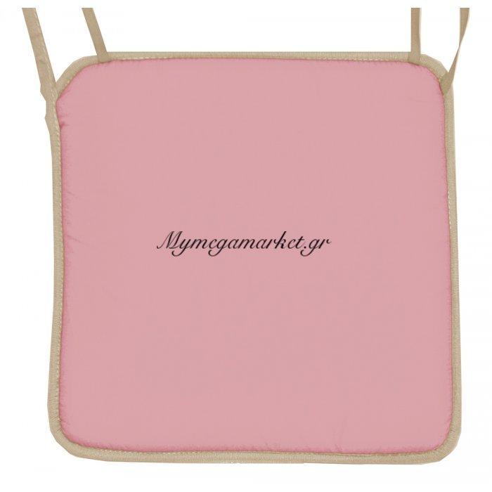 Μαξιλάρι καρέκλας με ρέλι μπέζ –Ρόζ απαλό | Mymegamarket.gr