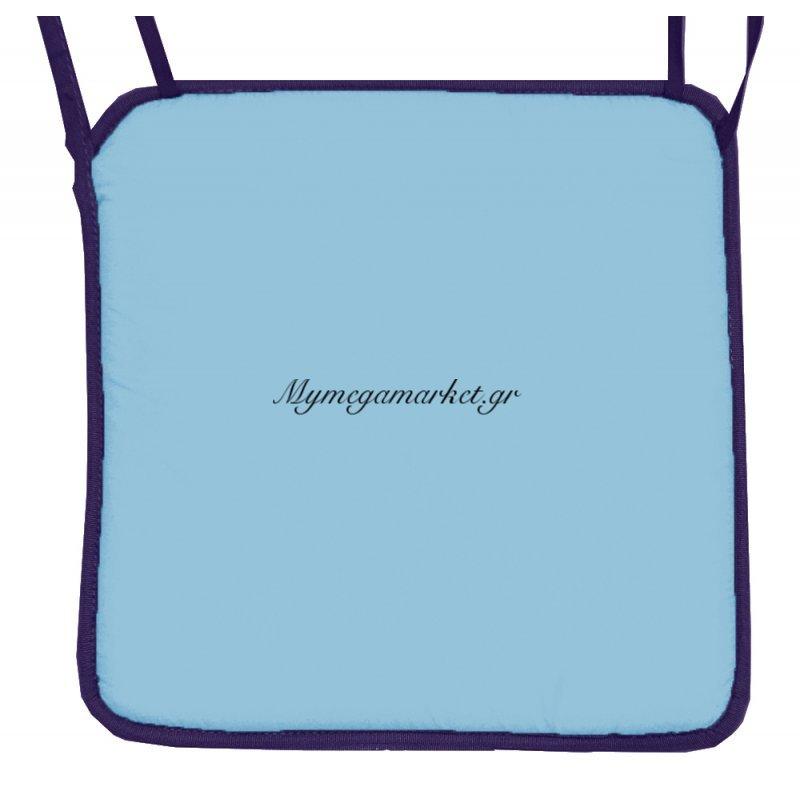 Μαξιλάρι καρέκλας με ρέλι μπλέ ανοιχτό χρώμα 38 x 38 x 3 cm