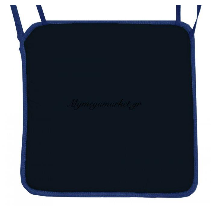 Μαξιλάρι καρέκλας με ρέλι μπλέ - μαύρο χρώμα 38 x 38 x 2 cm | Mymegamarket.gr