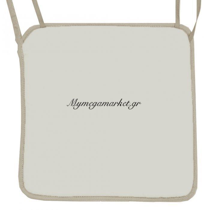 Μαξιλάρι καρέκλας με ρέλι, σαμπανί χρώμα 38 x 38 x 3 cm | Mymegamarket.gr