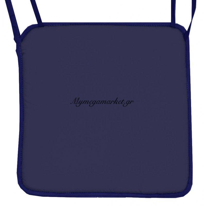 Μαξιλάρι καρέκλας με ρέλι, σκούρο μπλέ χρώμα 38 x 38 x 2 cm