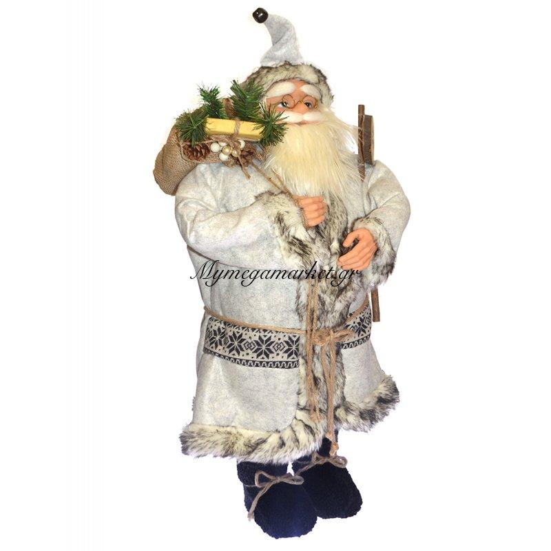 Άγιος Βασίλης λούτρινος δαπέδου με λευκή στολή Στην κατηγορία Κεραμικά - Λούτρινα Χριστουγεννιάτικα | Mymegamarket.gr