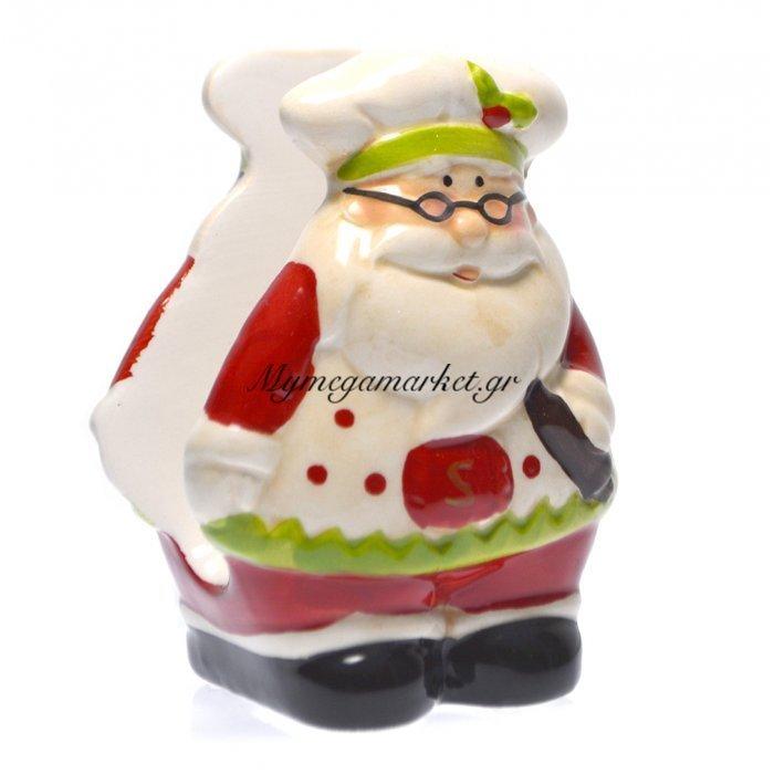 Χαρτοπετσετοθήκη πορσελάνινη χριστουγεννιάτικη με Άγιο Βασίλη | Mymegamarket.gr