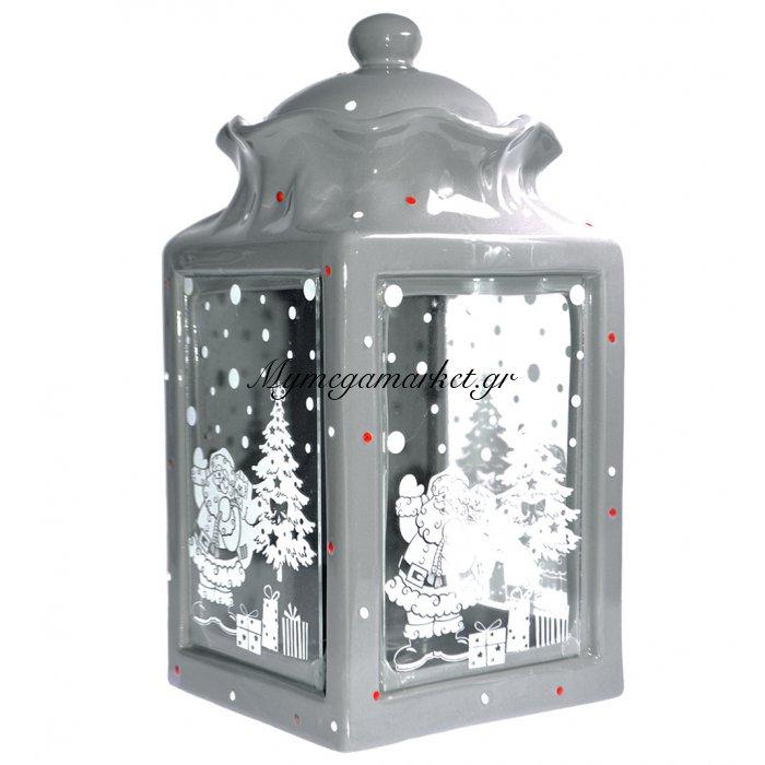 Μπισκοτιέρα πορσελάνινη γκρί με χριστουγεννιάτικες παραστάσεις | Mymegamarket.gr