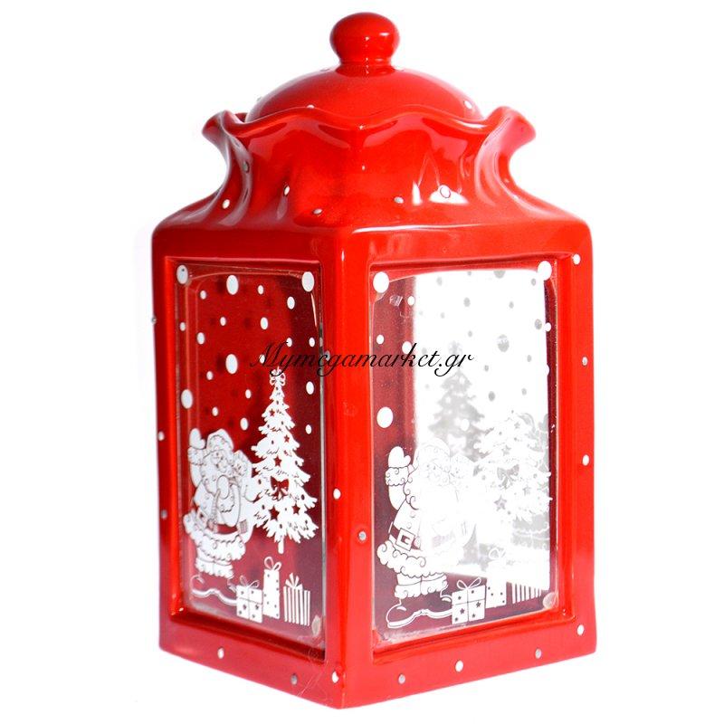 Μπισκοτιέρα πορσελάνινη κόκκινη με χριστουγεννιάτικες παραστάσεις