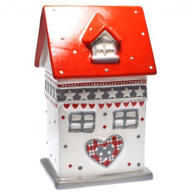 Μπισκοτιέρα πορσελάνινη ψηλή σχέδιο σπιτάκι με σκεπή κόκκινη