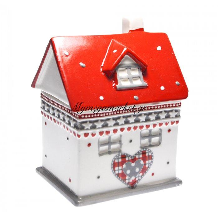 Μπισκοτιέρα πορσελάνινη σχέδιο σπιτάκι με σκεπή κόκκινη | Mymegamarket.gr