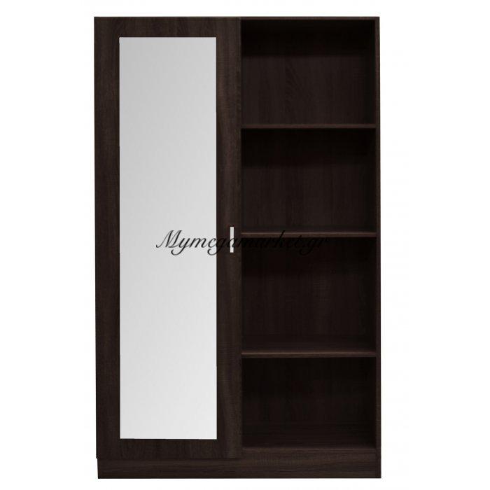 Ντουλάπα ξύλινη διπλή για Χωλ Wenge με 1 φύλλο καθρέπτη - Mdf 14004-Vege - Tns | Mymegamarket.gr