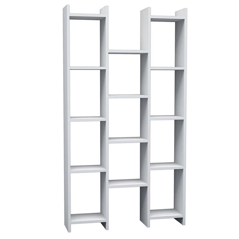 Βιβλιοθήκη Teo Rio χρώμα λευκό 90x22x164
