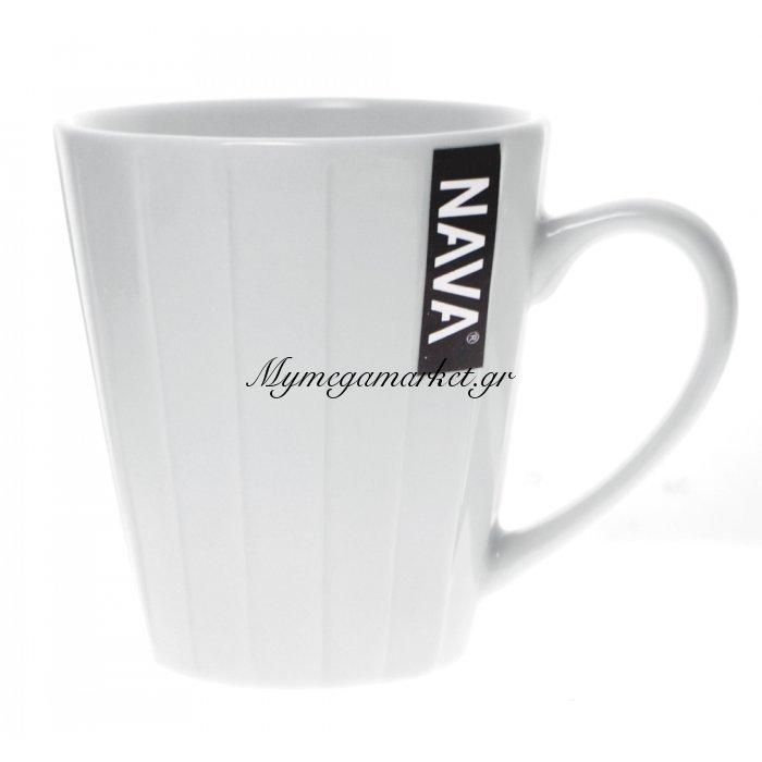 Κούπα πορσελάνινη λευκή με ανάγλυφο σχέδιο 325 ml | Mymegamarket.gr