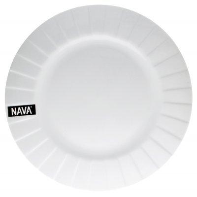 Πιάτο ρηχό πορσελάνινο λευκό επαγγελματικό με ανάγλυφο - Nava