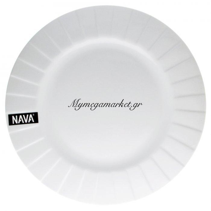 Πιάτο ρηχό πορσελάνινο λευκό επαγγελματικό με ανάγλυφο - Nava | Mymegamarket.gr