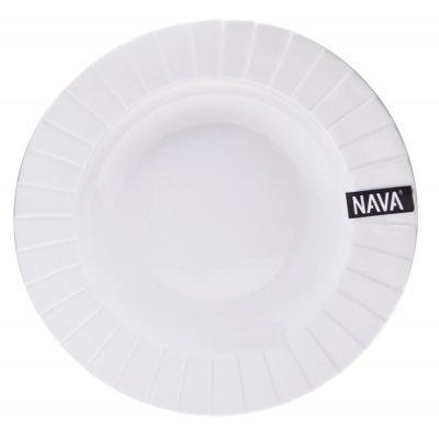 Πιάτο βαθύ πορσελάνινο λευκό επαγγελματικό με ανάγλυφο - Nava