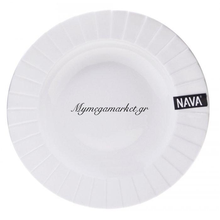 Πιάτο βαθύ πορσελάνινο λευκό επαγγελματικό με ανάγλυφο - Nava | Mymegamarket.gr