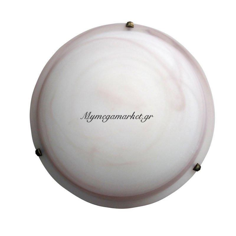 Φωτιστικό Οροφής, Χρώμα Μελί, Αλάβαστρο, Με Διάμετρο 40 Εκ.  2 Λάμπες Τύπου Ε27 (Max 40 Watt, Δεν Περιλαμβάνεται). Ta-61940Ha