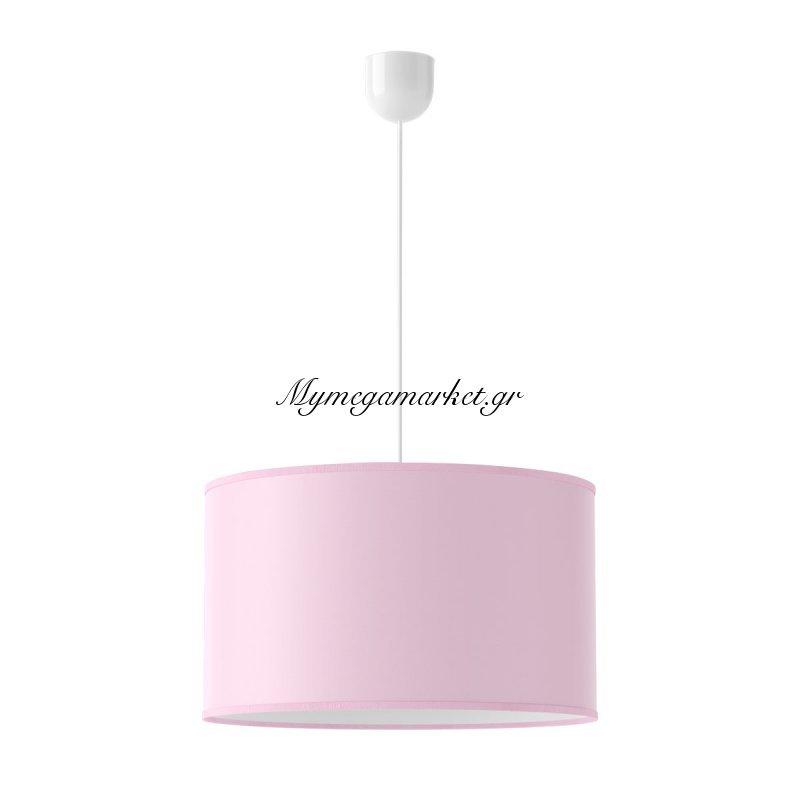 Φωτιστικό Ροζ, 40X22,5, Υφασμάτινο Καπέλο, Τύπου Πάπυρος, Με Ανάρτηση. 1 Λάμπα Τύπου Ε27 (Max 40 Watt, Δεν Περιλαμβάνεται).fl-Pink-1