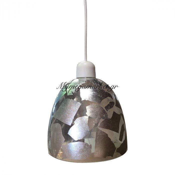 Φωτιστικό Με Γυαλί Και Καλώδιο, Ασημένιο Φύλλο, Διαμ.17Cm,ta-186917Sl | Mymegamarket.gr